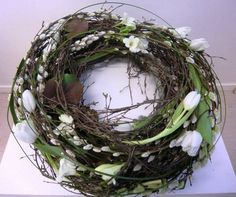 first white blooms of spring, wreath