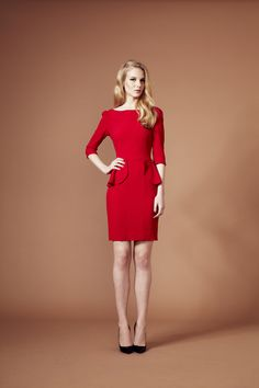 Beulah London red peplum dress with 3/4 sleeves arriving Aug 2013