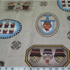 Cupcakes On Display Upholstery Curtain Cotton Linen Fabric | eBay