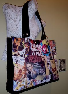 """This fun all purpose tote has a red lining, inside pocket and feet for protection.  16"""" wide and 13"""" tall.  $90.00"""