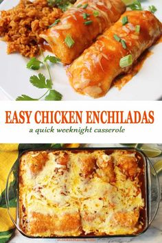 When you're in the mood for Mexican these Easy Chicken Enchiladas will hit the spot. All you need is a rotisserie chicken and a few grocery store staples and, voila, one fantastic quick and easy weekn Enchiladas Mexicanas, Creamy Chicken Enchiladas, Chicken Enchilada Recipes, Rotisserie Chicken Enchiladas, Easy Chicken Enchilada Casserole, Easy Recipes For Chicken, Rotisserie Kip, All Recipes, Bread Recipes