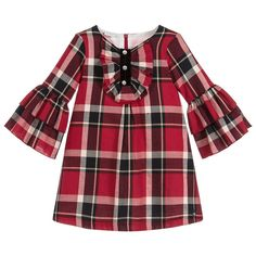Girls smart red check dress byPaz Rodriguez, with a pretty ruffle bib trimmed in black velvet and pearl buttons. Made in a lightweight cotton fabric, with bell sleeves, a cotton lining and back zip. Fashion Kids, Red Fashion, Girl Fashion, Fashion Hair, Fashion Shoes, Fashion Trends, Designer Dresses For Kids, Dresses Kids Girl, Kids Outfits