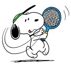 Snoopy Practicing his Tennis Forehand