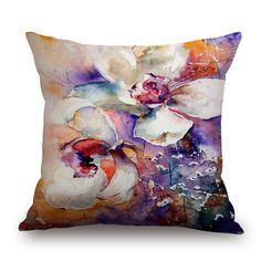 $7.70 Unique Cotton and Linen Watercolor Printing Pillow Case(Without Pillow Inner)