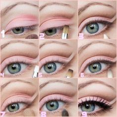 Great natural eye make up. It's perfect for wearing make up during the day. Pink Eye Makeup, Pink Eyeshadow, Love Makeup, Diy Makeup, Makeup Tips, Makeup Tutorials, Creamy Eyeshadow, Makeup Lessons, Photo Makeup