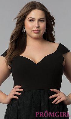 Image of v-neck off-the-shoulder plus-size long prom dress acca19bac