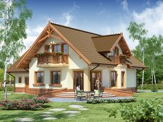 Projekt domu DA Gracjan CE - DOM - gotowy koszt budowy The cost reach of the Apartment was am Küchen Design, House Design, 20 M2, Porch Entry, Small Buildings, Villa, Country House Plans, Luxury Apartments, Home Look