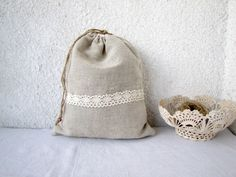 Linen and lace Drawstring bag