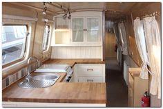 Top 65 Rvs And Camper Van Interior Design Ideas Narrowboat Kitchen, Narrowboat Interiors, Barge Interior, Interior Modern, Interior Design, Interior Ideas, Yacht Interior, Canal Boat Interior, Sailboat Interior