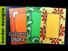 Most Popular Simple Attractive Simple Paper Border Designs Flowers Front Page Design, Page Borders Design, Border Design, Cover Page For Project, File Decoration Ideas, Simple Borders, Drawing Frames, Easy Paper Crafts, Paper Drawing