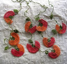 These look amazing worn like a scarf/necklace hybrid. Turkish Oya Needle Lace F. Freeform Crochet, Crochet Stitches, Knit Crochet, Textiles, Crochet Boarders, Crochet Decoration, Needle Lace, Lace Making, Crochet Flowers