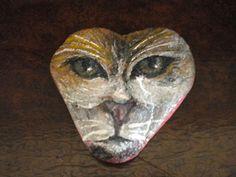 Ζωγραφική σε βότσαλο, Πρόσωπο γάτας - Painted pebble, cat face