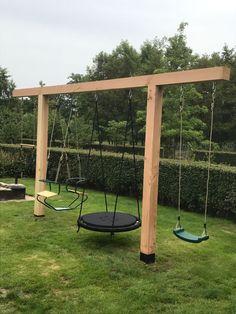 Backyard Swing Sets, Backyard Playground, Backyard For Kids, Backyard Projects, Outdoor Projects, Backyard Patio, Backyard Landscaping, Wood Playground, Diy Swing