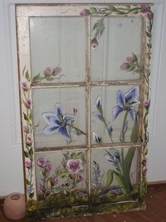 how to paint flowers on old windows Old Windows Painted, Painted Window Panes, Window Pane Art, Painting On Glass Windows, Old Window Frames, Vintage Windows, Painted Doors, Window Ideas, Window Frame Decor