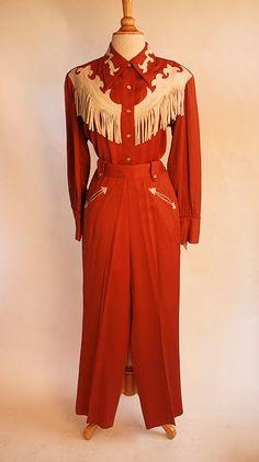 1940's Gabardine Western Suit with Leather Fringe - Size M