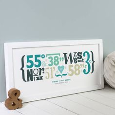 A truly unique and thoughtful personalised print, designed using the coordinates for your own special place or location.HOW TO ORDER: To order, simply supply us with the name of your chosen location, along with the full address if you have it - we will then work out the coordinates for you. If you already know the coordinates, please supply those. You can also include up to two lines of text to appear below the coordinates. We offer this print in a variety of colours and styles to suit many…