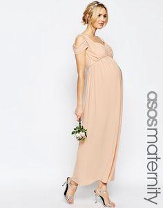 ASOS Maternity WEDDING Drape Cold Shoulder Maxi Dress