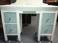 Wood icing on drawers with duck egg blue...remainder painted annie sloan old white