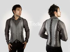"""NEW COLLECTION 2013 TITELLE men jacket corset  """"The Dandy"""" - Grey, blue and antique gold / handmade to order. $375.00, via Etsy."""