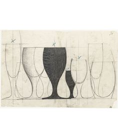 Arne Jacobsen, design drawing of the glassware for SAS Royal Hotel in Copenhagen, 1955-59. Via kunstbib.dk