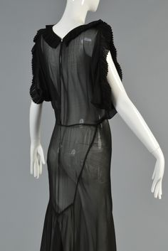 1930's Black Sheer Evening Gown with Open Draped Sleeves | From a collection of rare vintage evening dresses and gowns at https://www.1stdibs.com/fashion/clothing/evening-dresses/