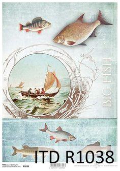 Sieci, wędki, ryby - papier ryżowy ITD Collection