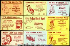 (25) Different Old Restaurant / Diner Menu Special Advertising Cards... LOVE THESE