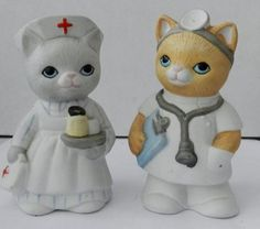 Kitty Cucumber Doctor and Nurse Salt and Pepper shakers