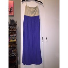 Alythea Striped Strapless Maxi Dress Light green striped strapless top with elastic waist and light, flowy royal blue maxi skirt with front pockets. Perfect summer dress. Great condition! Alythea Dresses Maxi