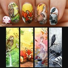 Four seasons nail art with animals - #nailart #animals #nailpolish #nailartist #piggieluv - bellashoot.com by ladylynne213