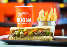 Buona Italian Beef Sandwich: a Chicago original Italian Beef Sandwiches Chicago, Italian Beef Recipes, Hot Dog Buns, Dessert, The Originals, Drinks, Eat, Food, Drinking