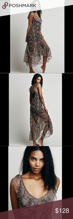 """Free People Sheer lace Embroidered Ruffle Dress S Free People Intimately Free People Sheer lace Embroidered & Ruffle Maxi Dress  muted dusty purple ( taupy ) sheer mesh maxi with V ruffled neck  ruffle down the front & around the swingy hem New Without Tags  *  Size:  Small retail price:  $148.00  * there is a dot on the tag to prevent store return MM  nylon * polyester * cotton  38"""" around bust  39"""" around waist  57"""" long Free People Dresses Maxi"""