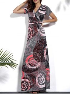 Vintage V-Neck Short Sleeve Circle Printed Plus Size Dress For Women