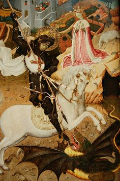 """St George slaying a dragon by Bernat Martorel (Inspiration for """"Green George"""". by Clive Hicks-Jenkins)."""