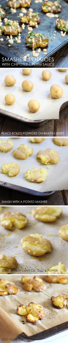 Smashed Potatoes with Chipotle Cream Sauce