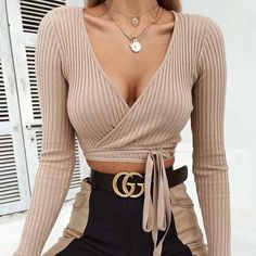 Women'S Sexy V-Neck Knit T-Shirt – Fashion duukoog Womens Fashion Casual Womens Fashion Summer Womens Fashion Classy Womens Fashion Urban Womens Fashion Curvy Crop Top Outfits, Mode Outfits, Trendy Outfits, Fashion Outfits, Fashion Trends, Fashion Fashion, Fashion Boots, Fashion Online, Cheap Fashion