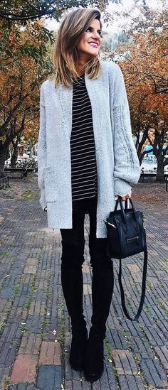 how to style a cardi : black skinnies + bag + over knee boots + stripped top