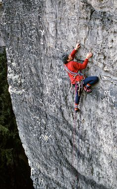 Bernd Arnold, a leading Saxony climber, establishes a first ascent on the histoical sandstone walls of the Eldsandstein, near Dresden, Germany. Rock climbing, as we think of it, began here well over a hundred years ago. Photo: Duane Raleigh