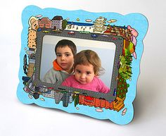 Items similar to Cardboard Photo Frame - Bon Voyage on Etsy 3d Paper Crafts, Paper Toys, Diy Paper, Diy Crafts, Paper Doll Chain, Cardboard Frames, New Photo Frame, Retro Robot, Sewing Projects