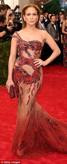 Singer Jennifer Lopez flashes some side bum at the Met Gala in New York