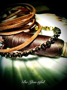 Leather & Strass bracelet  Handmade by My Fairy Cakes