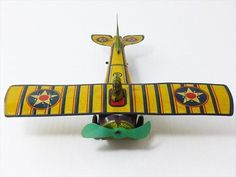 1930 World War propeller Yellow Aircraft Airplane Litho Tin Toy Vintage Rare