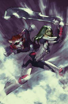 Silver Surfer #5 Variant Gamora and Rocket Raccoon by AldgerRelpa.deviantart.com on @deviantART