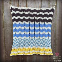 100% Cotton Crochet Chevron Baby by peacelovecreations on Etsy