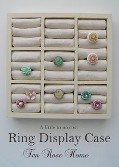 DIY Ring Display Case Tutorial : spray paint + fabric + batting + wooden drawer organizer (found at the dollar store)... so easy!