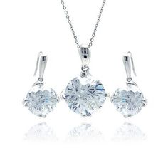 .925 Sterling Silver Rhodium Plated Large Round Clear Cubic Zirconia Hook Earring & Dangling Necklace Set