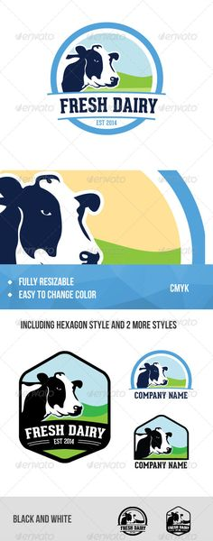 Dairy Company — Vector EPS #cow #circle • Available here → https://graphicriver.net/item/dairy-company/6996326?ref=pxcr