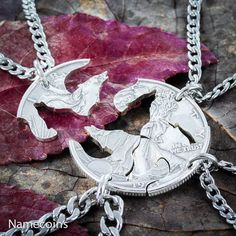 4 Best Friends Silver Wolf Necklaces, Wolf pack by Namecoins Wolf Necklace, Turtle Necklace, Cluster Necklace, Necklace Set, Family Necklace, Statement Necklaces, Best Friend Necklaces, Best Friend Jewelry, Diamond Cross Necklaces