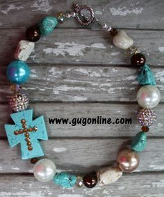 GUG Hand Strung Turquoise Brown and White Nuggets with Side Turquoise Cross Necklace $29.95 www.gugonline.com