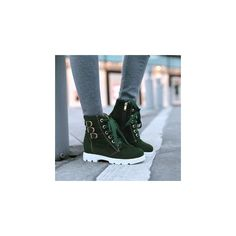 Pangmama Lace-Up Buckled Short Boots ($59) ❤ liked on Polyvore featuring shoes, boots, ankle booties, ankle boots, footware, lace up platform booties, platform ankle booties and bootie